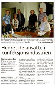 Åndalsnes Avis september 2013 - Hedret de ansatte i konfeksjonsindustrien